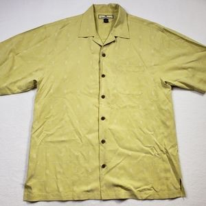 Tommy Bahama mens 100% silk yellow button down med